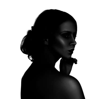 High contrast black and white portrait of beautiful young woman