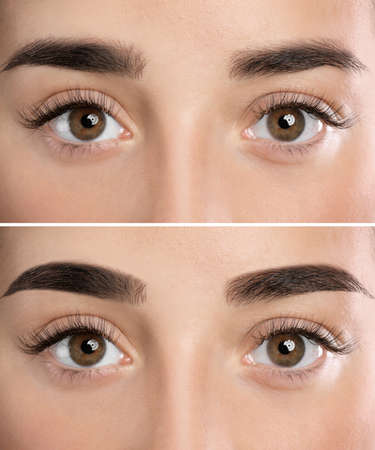 Woman before and after eyebrow correction, closeup