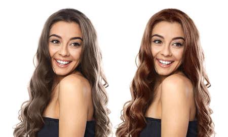 Belle femme avant et après la coloration des cheveux sur fond blanc Banque d'images
