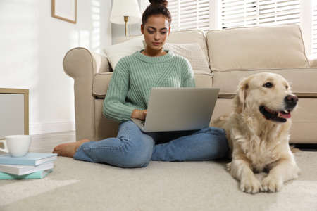 Young woman with laptop and her Golden Retriever at home. Adorable pet