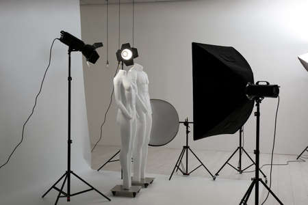 Modern ghost mannequins in professional photo studio Imagens