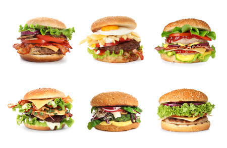 Set of different delicious burgers on white background