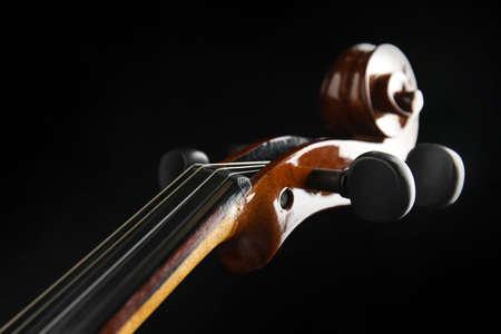 Beautiful violin on black background, closeup view