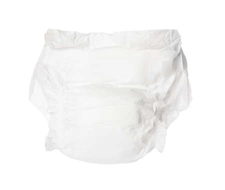 Single disposable baby diaper isolated on white