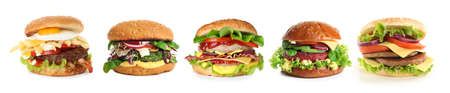Set of different delicious burgers on white background. Banner design