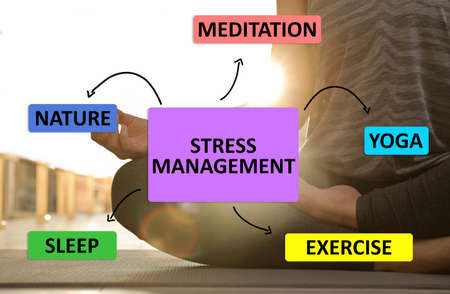 Stress management techniques. Woman meditating indoors, closeup