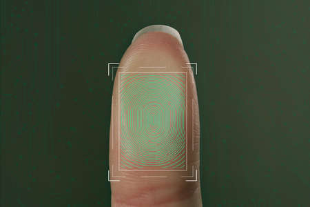 Woman using biometric fingerprint scanner on color background, closeup