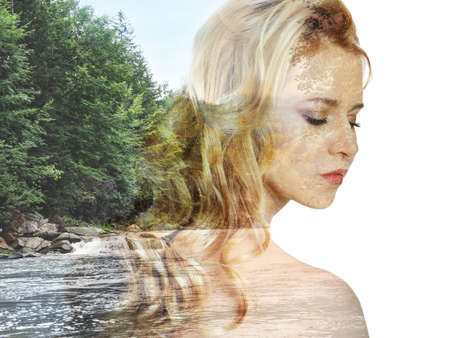 Picturesque landscape and beautiful woman on white background. Double exposure