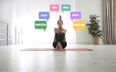 Stress management techniques. Woman practicing yoga indoors