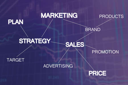 Marketing strategy scheme on dark blue background with charts Foto de archivo