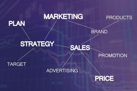 Marketing strategy scheme on dark blue background with charts Stok Fotoğraf