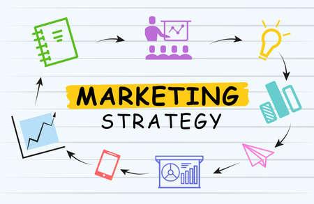 Marketing strategy scheme with illustrations on light background Stok Fotoğraf