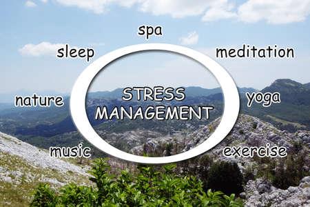 Stress management techniques scheme and mountain landscape on background