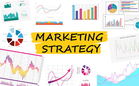 Marketing strategy scheme with charts on white background Foto de archivo