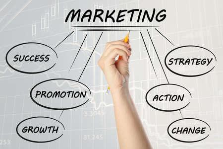 Woman drawing marketing scheme on light background with charts, closeup Foto de archivo