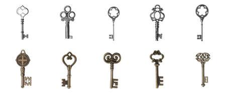 Set of different ornate keys on white background. Banner design