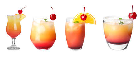 Set of Tequila Sunrise cocktail in different glasses on white background, banner design. Refreshing drink Banque d'images