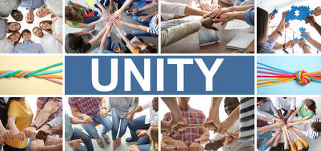 Collage with different photos, banner design. Concept of unity and support  Banco de Imagens