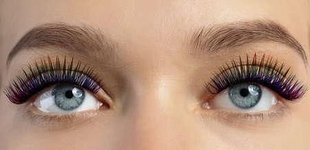 Young woman with long color eyelashes, closeup. Banner design Reklamní fotografie