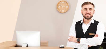 Portrait of receptionist near desk in modern hotel. Banner design