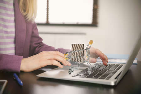 Woman shopping online using laptop, small cart with bag on computer