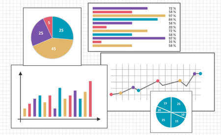 Set of different charts on squared paper Stock fotó