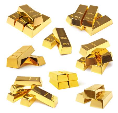 Set of shiny gold bars on white background Imagens
