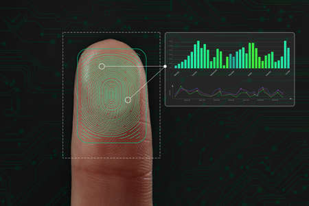 Woman using biometric fingerprint scanner on dark background, closeup Foto de archivo