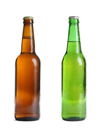 Different bottles of beer on white background Imagens
