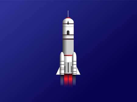 Modern rocket model illustration on blue background