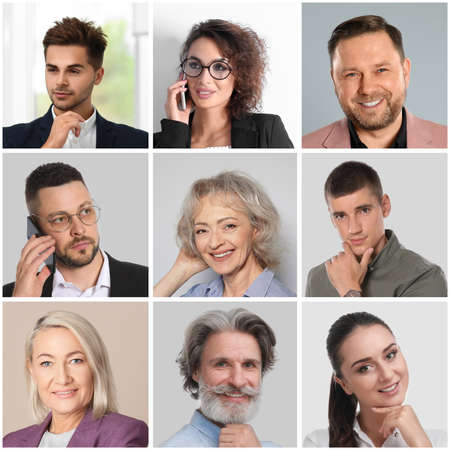 Collage with portraits of different business people Foto de archivo