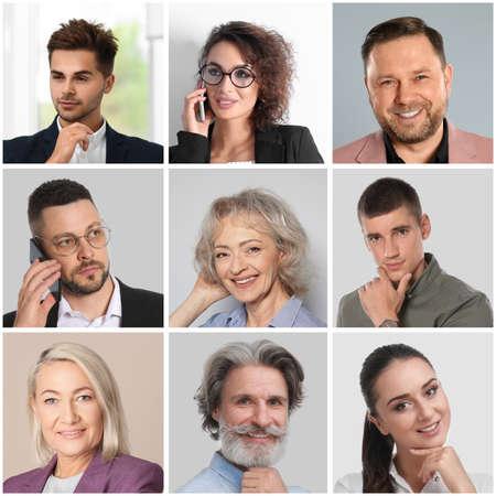 Collage avec des portraits de différents hommes d'affaires Banque d'images