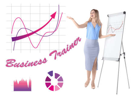 Professional business trainer giving presentation and graphics against white background 免版税图像