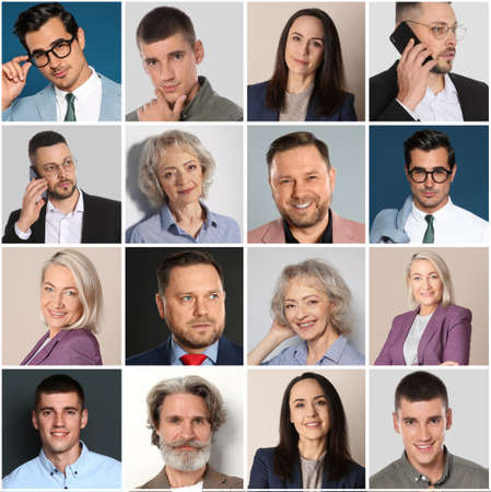 Collage with portraits of different business people
