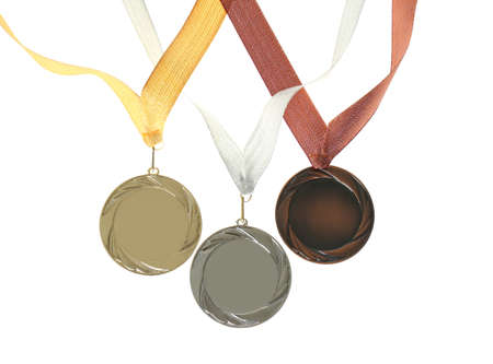 Gold, silver and bronze medals isolated on white. Space for design