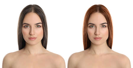 Beautiful woman before and after hair coloring on white background