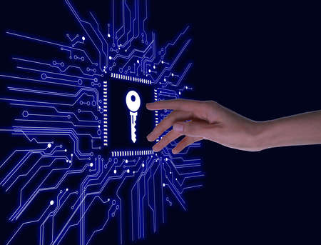 Concept of keywords research and modern technology. Woman pointing at key icon on black background, closeup