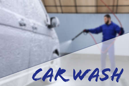 Text Car Wash and worker covering automobile with foam on background