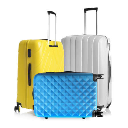 Set of different stylish suitcases for travelling on white background Reklamní fotografie