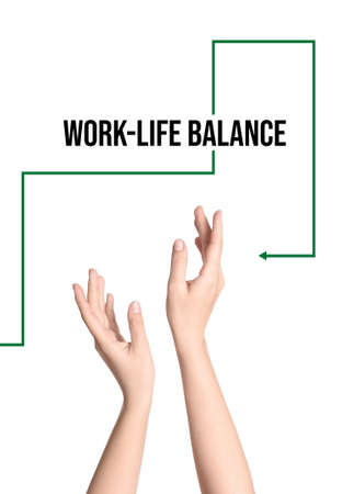 Woman demonstrating phrase Work-life balance on white background, closeup 版權商用圖片