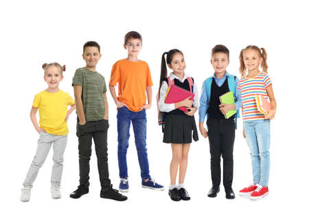 Group of cute school children on white background