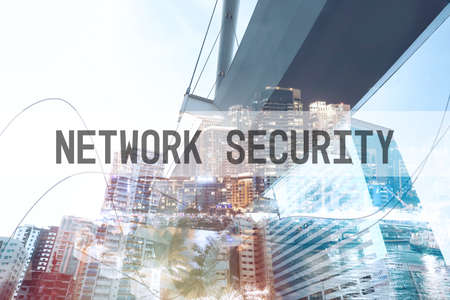 Network security concept. Double exposure of different cityscapes
