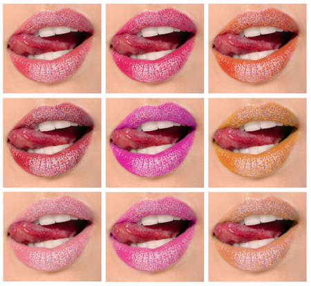 Young woman with different color lipsticks, collage Stockfoto