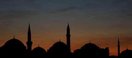 Silhouette of mosque during sunset, banner design. Muslim culture