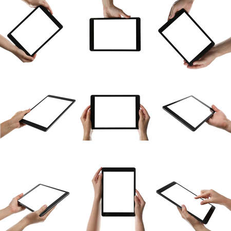 Collage with photos of people holding tablet computer on white background, closeup