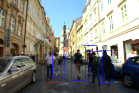 Blurred view of city street with scanner frames on people. Machine learning Zdjęcie Seryjne