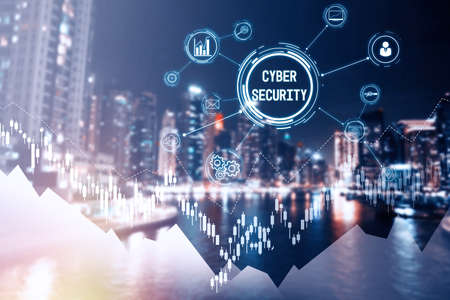 Text CYBER SECURITY, icons and cityscape on background