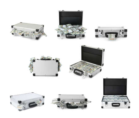 Set of suitcases with money on white background Фото со стока