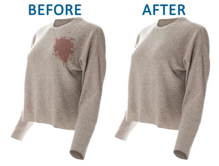 Stylish sweater before and after dry-cleaning on white background Zdjęcie Seryjne