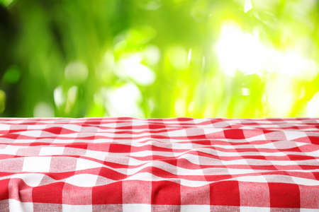 Picnic table with checkered red napkin on green blurred background Stock Photo